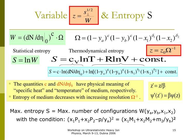 Variable             & Entropy