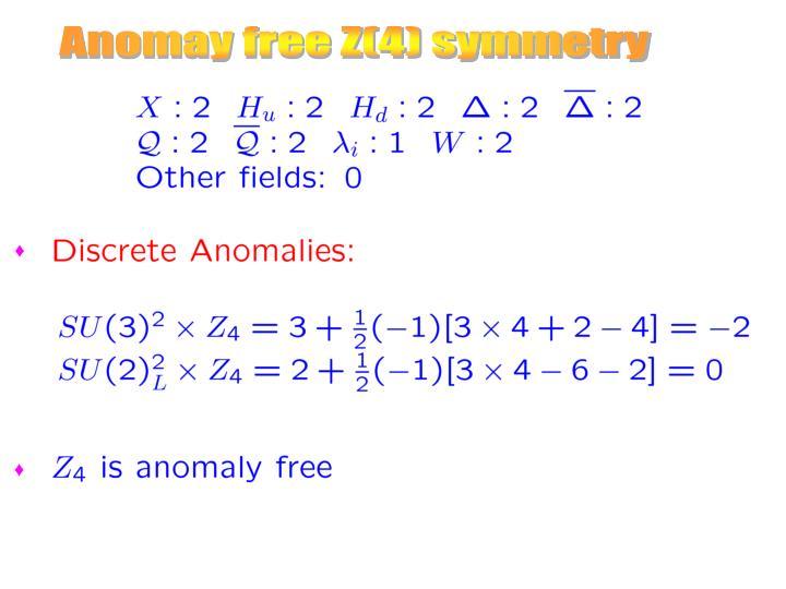 Anomay free Z(4) symmetry