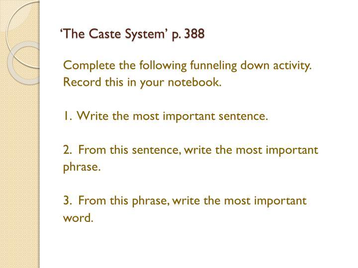 'The Caste System' p. 388