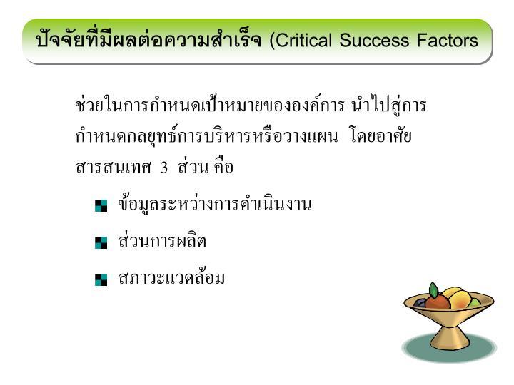 ปัจจัยที่มีผลต่อความสำเร็จ (
