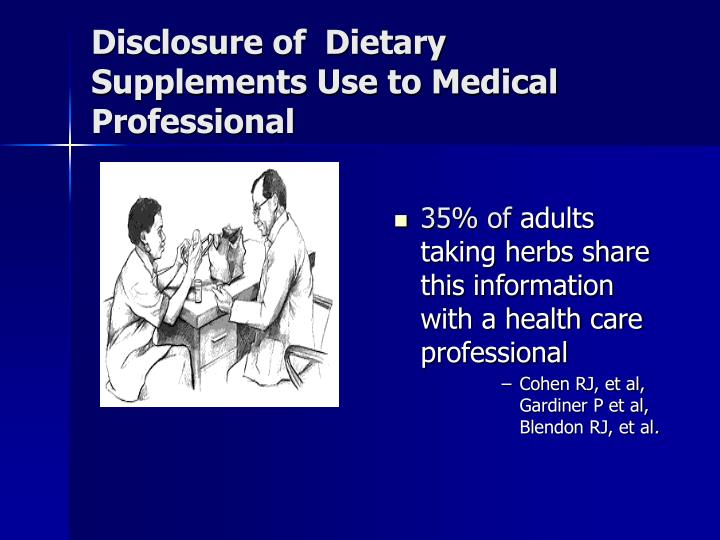 Disclosure of  Dietary Supplements Use to Medical Professional