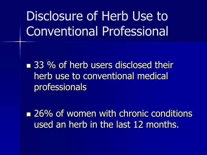 Disclosure of Herb Use to Conventional Professional