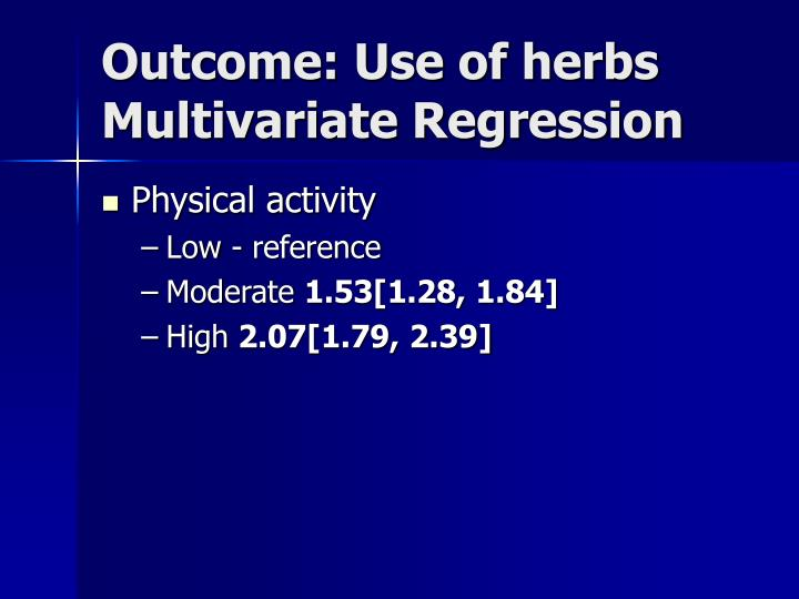 Outcome: Use of herbs