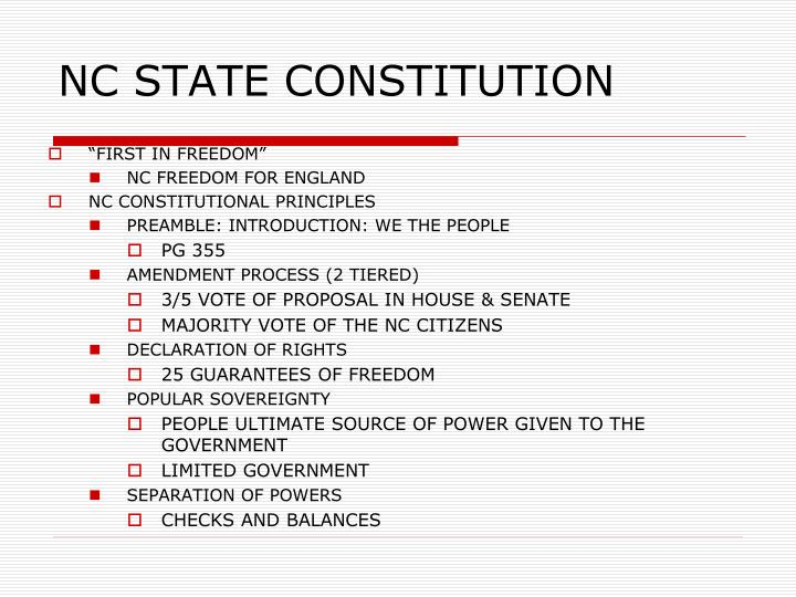 NC STATE CONSTITUTION