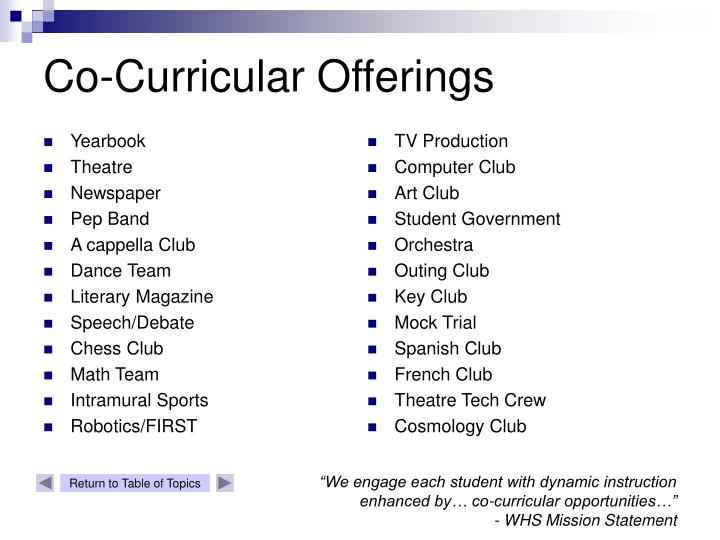 Co-Curricular Offerings
