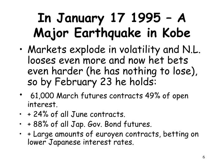 In January 17 1995 – A Major Earthquake in Kobe