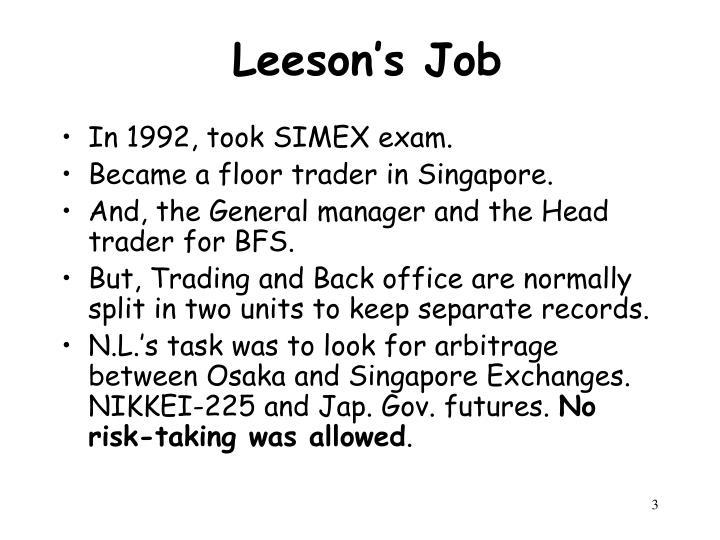 Leeson's Job