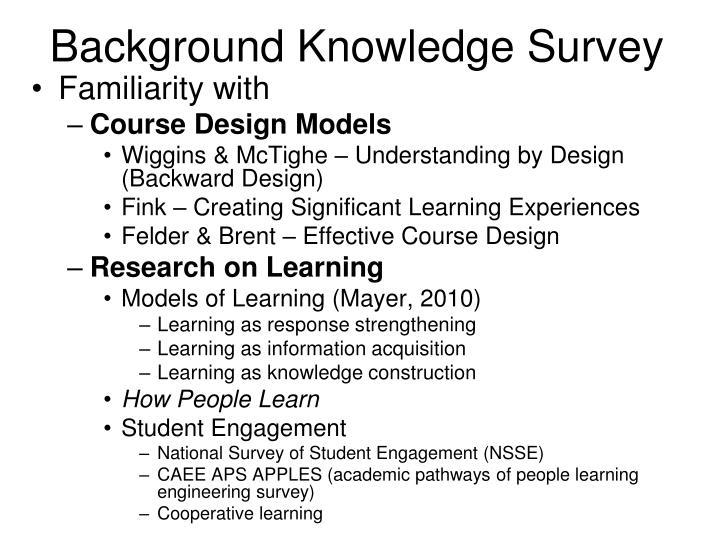 Background Knowledge Survey