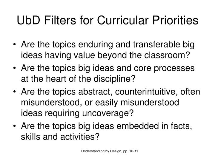 UbD Filters for Curricular Priorities