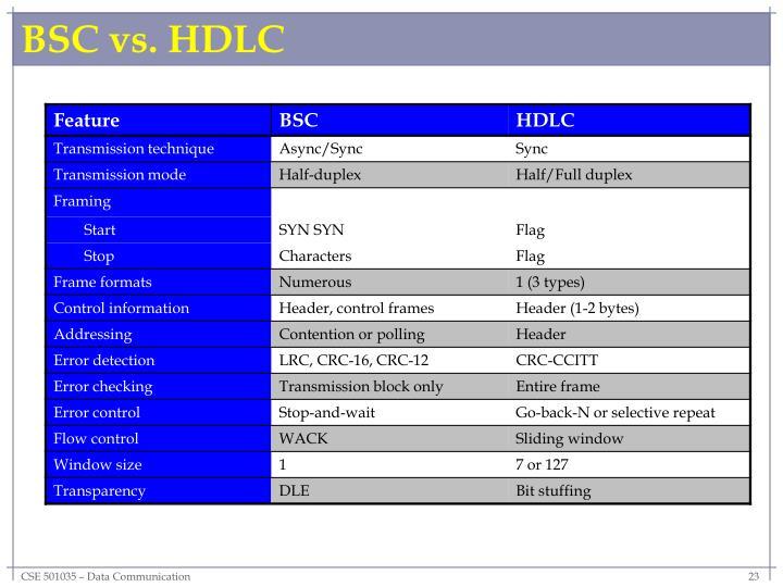 BSC vs. HDLC