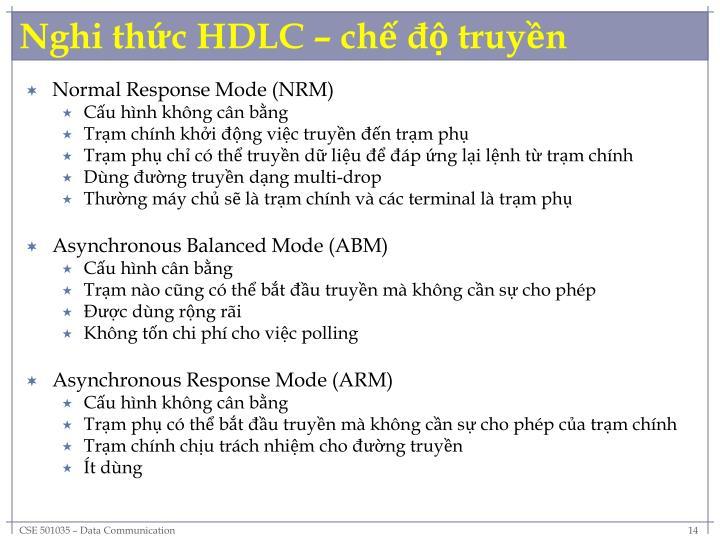Nghi thức HDLC – chế độ truyền