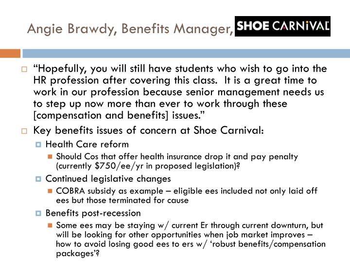 Angie brawdy benefits manager shoe carnival1
