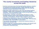 the county economies and leading industries across the state