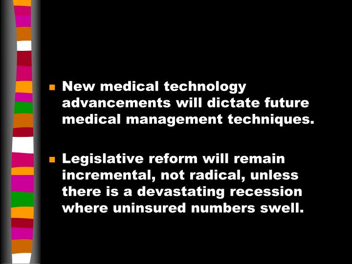 New medical technology advancements will dictate future medical management techniques.