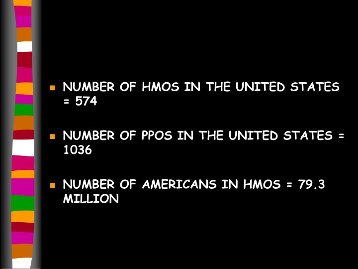NUMBER OF HMOS IN THE UNITED STATES = 574