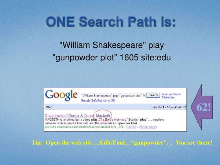 ONE Search Path is: