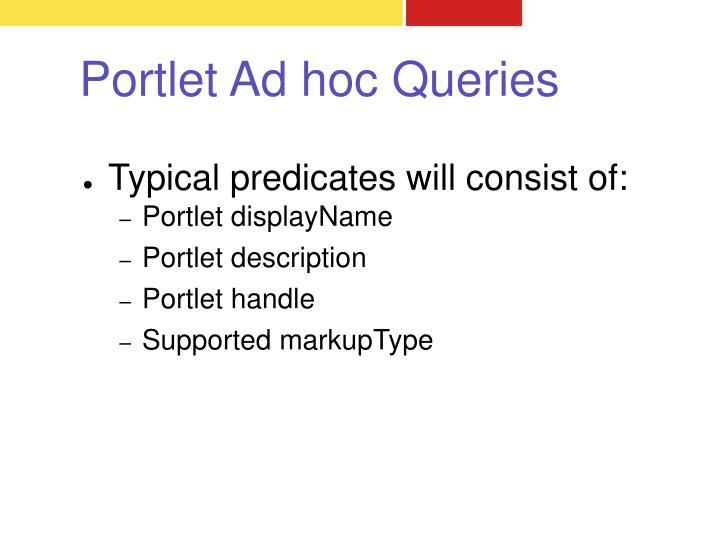 Portlet Ad hoc Queries