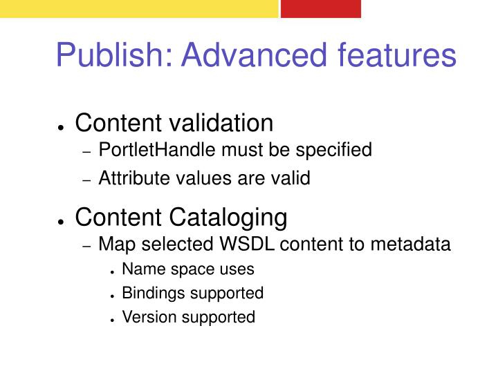 Publish: Advanced features