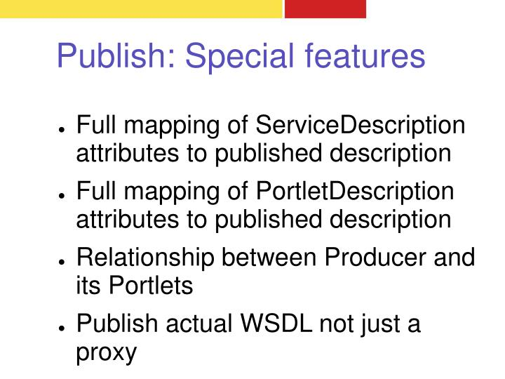 Publish: Special features