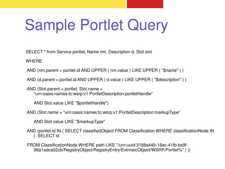 Sample Portlet Query