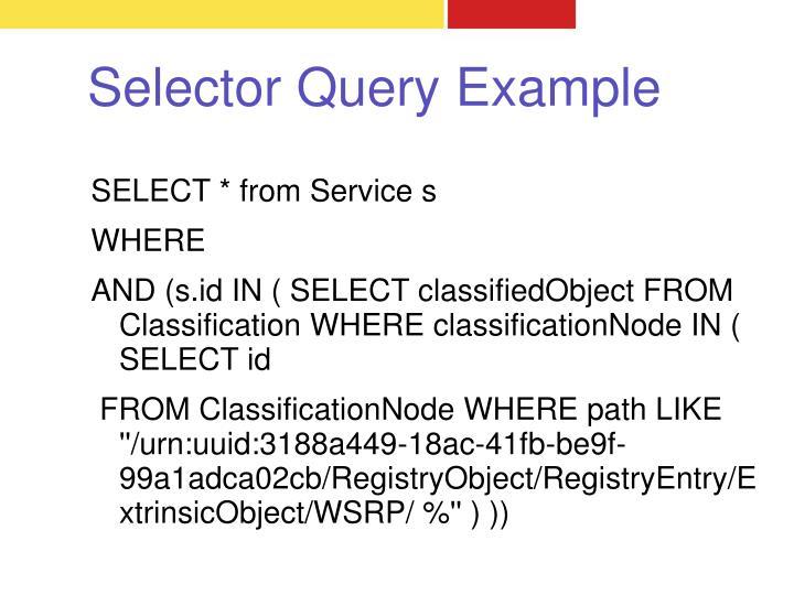 Selector Query Example