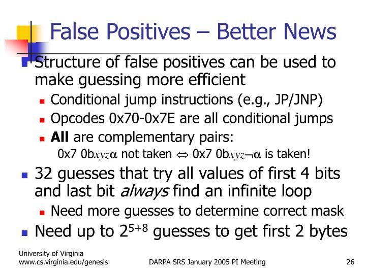 False Positives – Better News