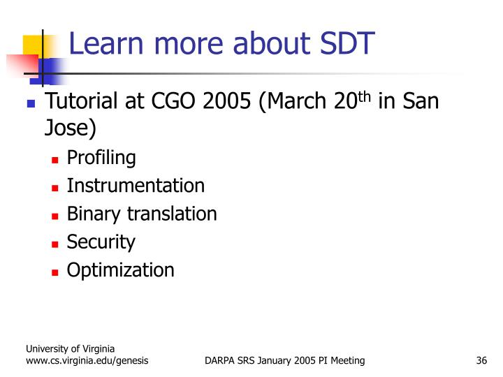 Learn more about SDT