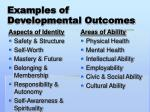 examples of developmental outcomes