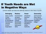 if youth needs are met in negative ways
