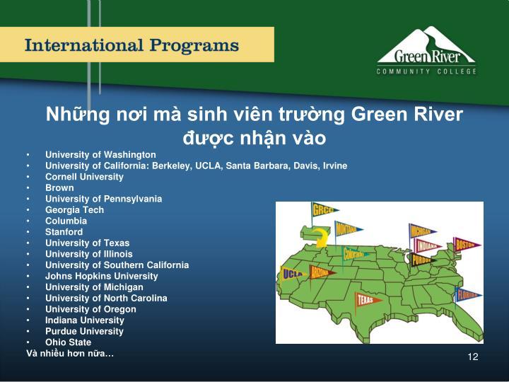 Những nơi mà sinh viên trường Green River được nhận vào