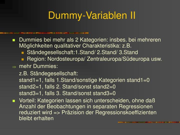 Dummy-Variablen II