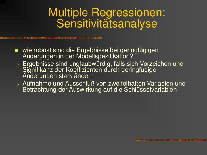 Multiple Regressionen: Sensitivitätsanalyse