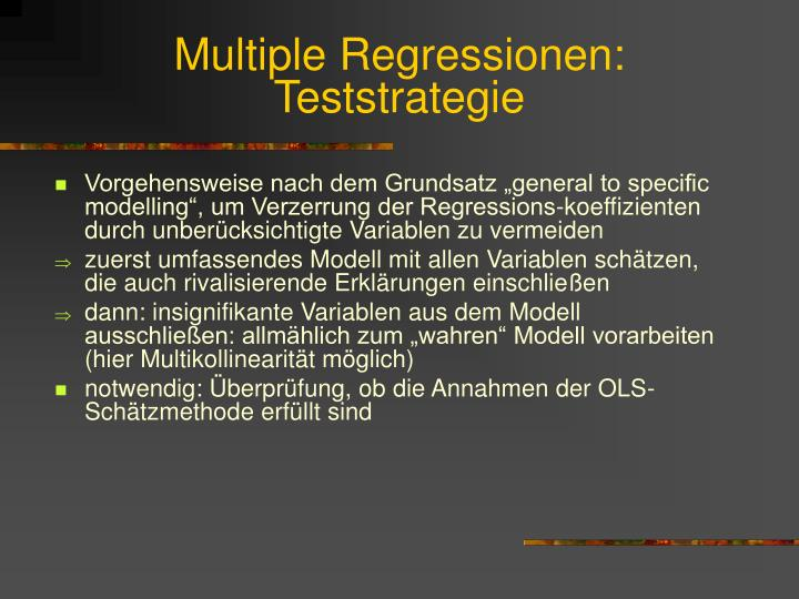 Multiple Regressionen: