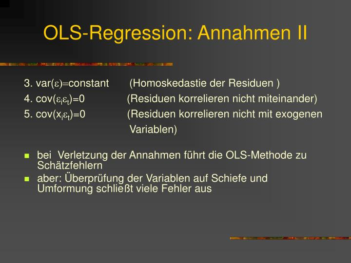 OLS-Regression: Annahmen II