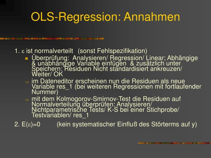 OLS-Regression: Annahmen