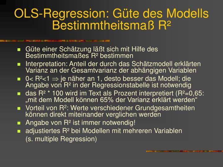 OLS-Regression: Güte des Modells