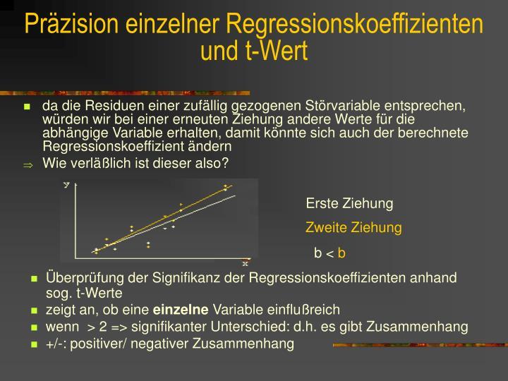 Präzision einzelner Regressionskoeffizienten
