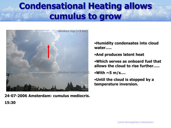 Condensational Heating allows cumulus to grow