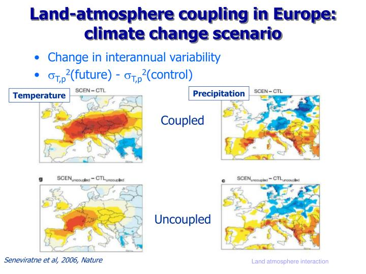 Land-atmosphere coupling in Europe: climate change scenario