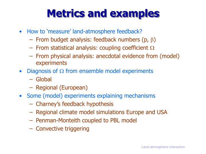 Metrics and examples