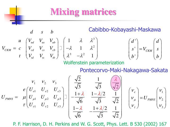 Mixing matrices