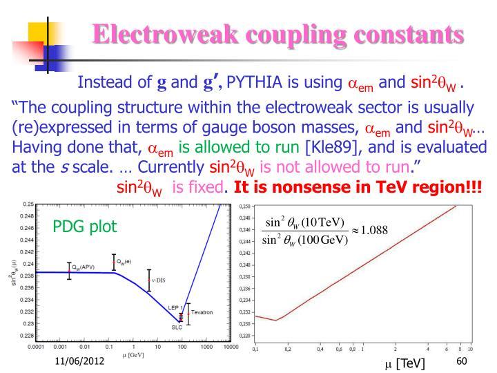 Electroweak coupling constants