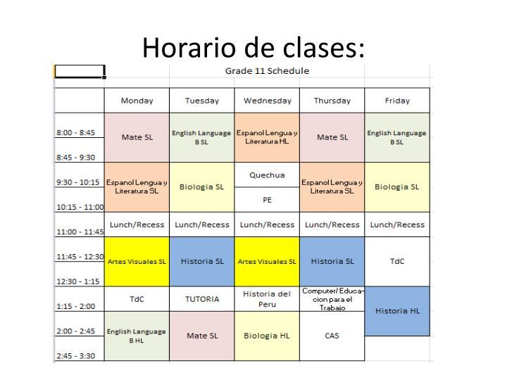 Horario de clases: