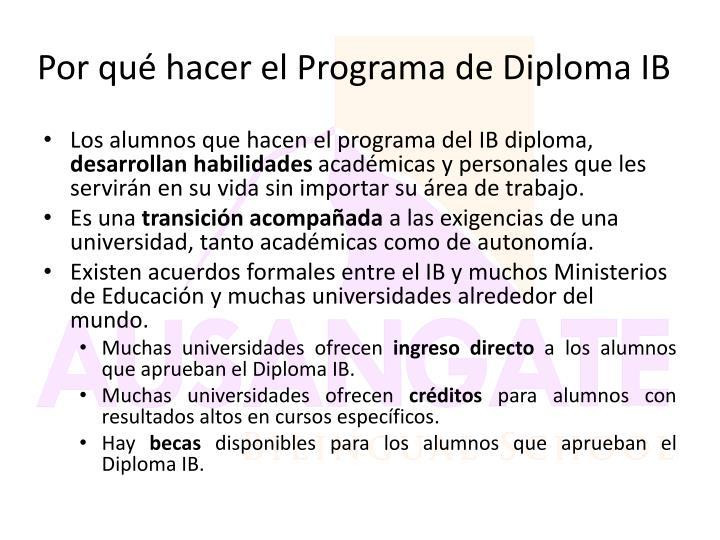 Por qué hacer el Programa de Diploma IB
