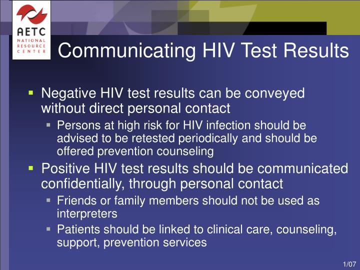 Communicating HIV Test Results