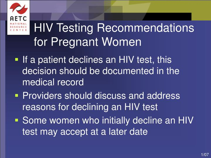 HIV Testing Recommendations for Pregnant Women