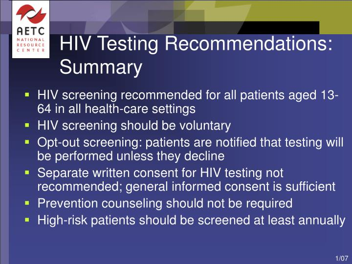 HIV Testing Recommendations: