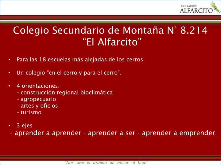 Colegio Secundario de Montaña N° 8.214