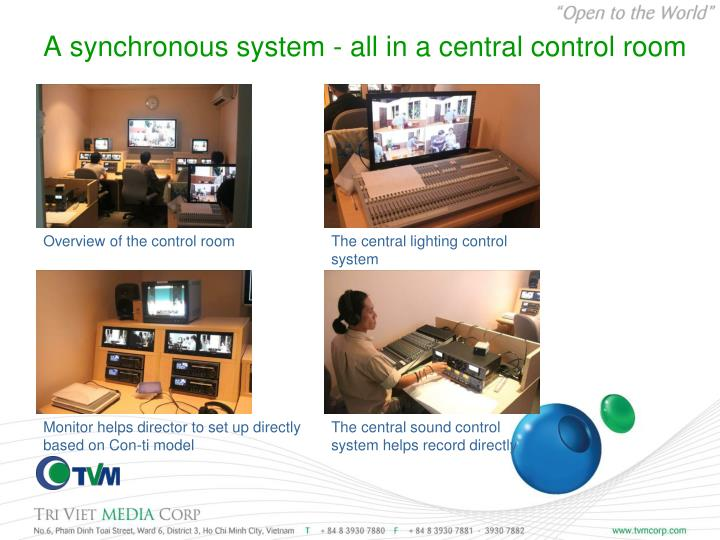A synchronous system - all in a central control room