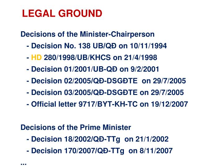 Decisions of the Minister-Chairperson
